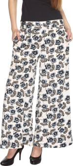 Fashion205 Casual White And Grey Printed American Crepe Palazzo Regular Fit Women's Trousers