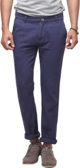 Yepme Blue Slim Fit Men's Trousers