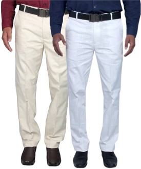 RICH PERK Slim Fit Men's Linen White, Beige Trousers