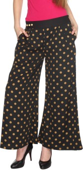 Fashion205 Casual Black And Gold Printed American Crepe Palazzo Regular Fit Women's Trousers