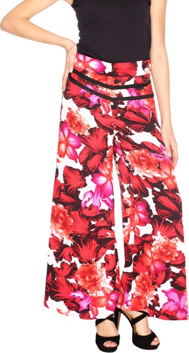 Fashion205 Red And Black European Crepe Palazzo Regular Fit Women's Trousers