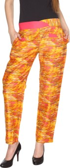 Fashion205 Yellow And Orange Printed Cotton Satin Regular Fit Women's Trousers