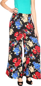 Fashion205 Blue And Red Printed American Crepe Palazzo Regular Fit Women's Trousers