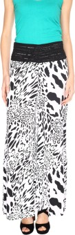 Fashion205 Black And White Printed American Crepe Palazzo Regular Fit Women's Trousers - TROE53GURZ2EZTMR