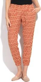 People Women's Beige, Red Trousers