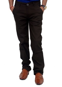Blue Teazzers Slim Fit Men's Brown Trousers