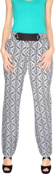 Fashion205 Black And White Printed Regular Fit Women's Trousers