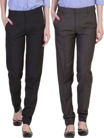 American-Elm Slim Fit Women's Multicolor Trousers