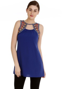 Fusion Beats Solid Women's Tunic