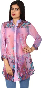 Purple Feather Printed Women's Tunic - TUNE9YD2YV7HZZW7