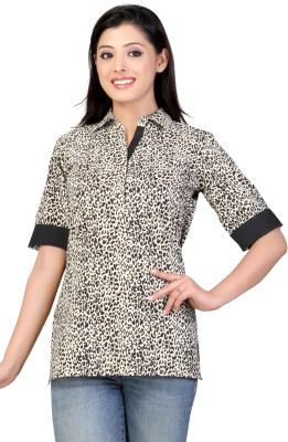 Lifestyle Lifestyle Retail Missy Animal Print Women's Tunic (Beige\/Sand\/Tan)