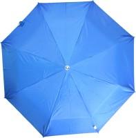 Fendo 3 Fold Nylon Fabric H/O Ladies Cyan Umbrella Umbrella (Blue)