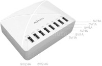 Smartpro 8port 8 Port Portable Hub With Two 2.4a Output Port And Four 1A Output Port USB USB Charger (White)