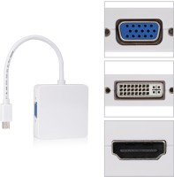 RoQ 3 In 1 Thunderbolt Mini DisplayPort To HDMI VGA Adapter DVI Cable (White)