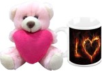 HomeSoGood Valentine's Day Burning Art Coffee Mug With Teddy Valentine Gift Set Valentine Gift Set
