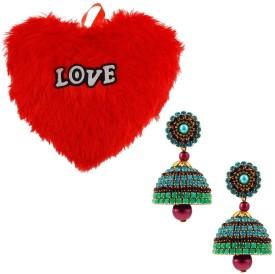 Bhavya India Buy Fancy Ball Chain Handcrafted Jhumka & Get Heart Furry Cushion -282 Gift Set