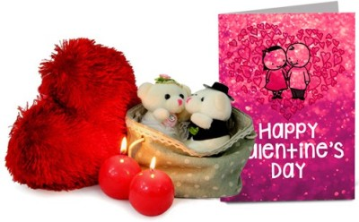 Gifts By Meeta GIFTS5562 Valentine Gift Set. Its a soft toy for Women. Sales Package Contains Teddy, Candles, Cushion, Valentine'S Day Card Bag