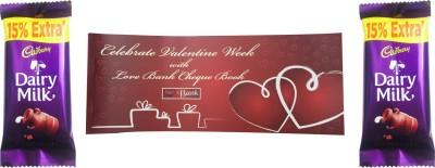 Priyankish Valentine Cheque Book Combo Valentine Gift Set. Valentine Cheque Book, 2 DairyMilk Chocolates