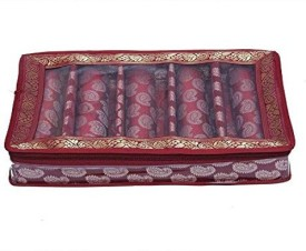 Kuber Industries 5 Rod Brocade Bangle box (9 cm x 24 cm x 42 cm), 5 Rods, Maroon Make Up Vanity Jewellery