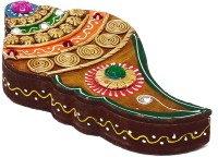 Aapno Rajasthan Conch Shell Wood And Clay Jewellery Vanity Case (Multicolor)