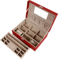 Uberlyfe Large Classy 2 Level Jewellery Box Vanity Case (Red)