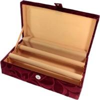 Addyz Jewelry Bangle Box Plain-2 Rods Jewelry Storage Vanity Box (Maroon)