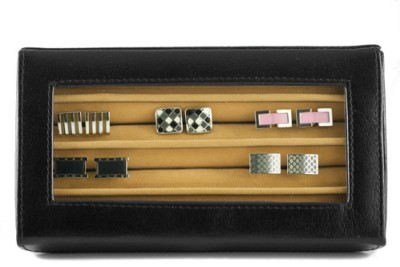 GoGappa Posh Leather Cuff Link Display Case - Black Jewellery Vanity Case Black