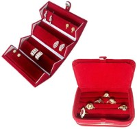 Addyz Combo Studs Tops Pocket & Ring Jewellery Vanity Case (Red)