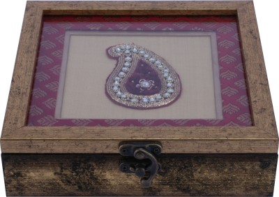 The Nodding Head Vanity Boxes The Nodding Head Handmade Wooden With Pink Embroidered Background Jewellery Vanity Box