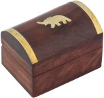 Craft Art India Vanity Boxes Craft Art India Handmade Wooden Storage With Embossed Brass Elephant Jewellery Vanity Case