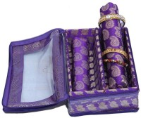 Ermani Export Bangle Box 2 Rod In Royal Blue Brocade Bangle Box Vanity Multi Purpose (Multi-Color)