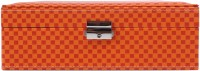 Uberlyfe Double Level Red And Yellow Checks Jewellery Box Vanity Multi Purpose (Orange)