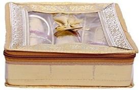 Kuber Industries 3 Rod Brocade Bangle box (9 cm x 24 cm x 27 cm, 3 Rods, Golden) Make Up Vanity Jewellery