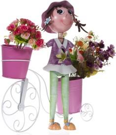 Smile2u Retailers Girl Cycling Iron Vase