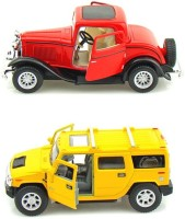 Kinsmart Ford 1932 Coupe And Hummer H2 Metal (Red, Yellow)