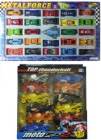 Shop & Shoppee Die Cast Metal Force Car Set (25pcs) & Bike Pullback Friction Bike (12 Pcs) (Multicolor)