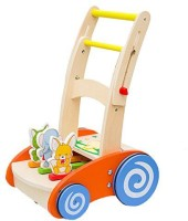 VidaToy Cute Carton Animals Helix Wheel Wooden Baby Walker Push For Kid (Multicolor)