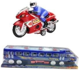 Shop & Shoppee Combo of Friction Pull-Push Friction Train & Bike