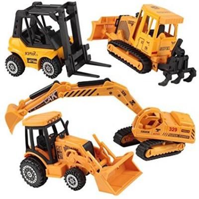Happy Cherry Metal Diecast Construction Vehicle Excavator Backhoe Tractor Pack Of 4 Yellow (Multicolor)