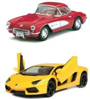 Kinsmart Chevrolet Corvette 1957 And Lamborghini Aventador (Red, Yellow)