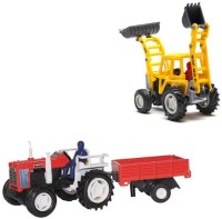 A R ENTERPRISES CENTY VEHICLES COMBO OF TWO- TRACTOR AND BULDOZER (MULTICOLOR)