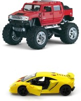 Kinsmart Monster Hummer H2 Sut And Lamborghini Sesto Mini Model (Multicolor)