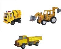 Centy Pack Of 3 JCB Earthmover Concrete Mixer Telco Truck (Multicolor)