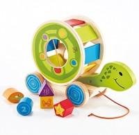 Hape Shape Sorter Turtle Pull Along Toy, 5 Shape Blocks (Multicolor)