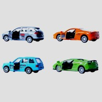 AdraxX 4 In 1 1:64 Scale Die Cast Micro Sports Pullback Collectors Toy Cars Model Set (Green, Orange, Silver, Blue)