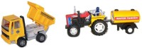 Centy Pack Of 2 Tractor With Tanker And Dumper Truck (Multicolor)