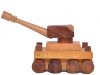 Cartoonpur Hand Made Wooden Tank Pull Push Along (Brown)