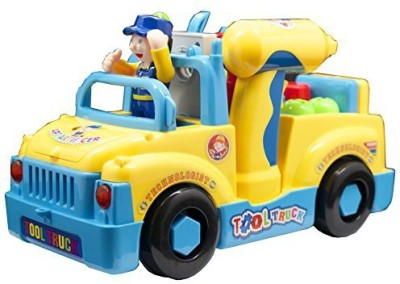 Techege Toys Cars, Trains & Bikes Techege Toys Bump'N'Go Tool Truck For Kids Fun Builder With Lights
