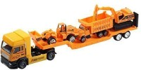 Aivtalk Construction Vehicle Pull Back Transport Trailer Car Carrier Truck Toy For Boys (includes 3 * Trucks) - Yellow (Multicolor)
