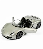 A Smile Toys & More Porsche Spyder Die Cast With Sound And Inbuilt Hid (Silver, Red)